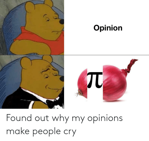 why: Found out why my opinions make people cry