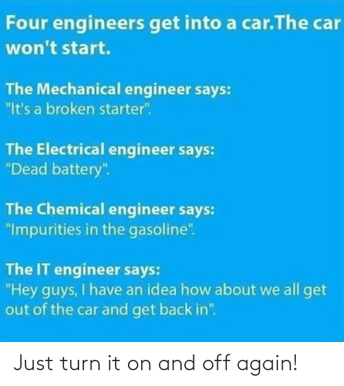 "hey guys: Four engineers get into a car.The car  won't start.  The Mechanical engineer says:  ""It's a broken starter"".  The Electrical engineer says:  ""Dead battery"".  The Chemical engineer says:  ""Impurities in the gasoline"".  The IT engineer says:  ""Hey guys, I have an idea how about we all get  out of the car and get back in"". Just turn it on and off again!"