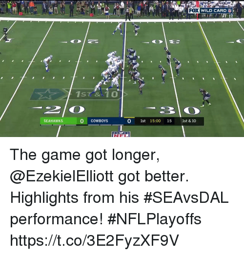 Dallas Cowboys, Memes, and The Game: FOX  1): WILD CARD  30  SEAHAWKS  O COWBOYS  0 1st 15:00 15 1st & 10 The game got longer, @EzekielElliott got better.  Highlights from his #SEAvsDAL performance! #NFLPlayoffs https://t.co/3E2FyzXF9V