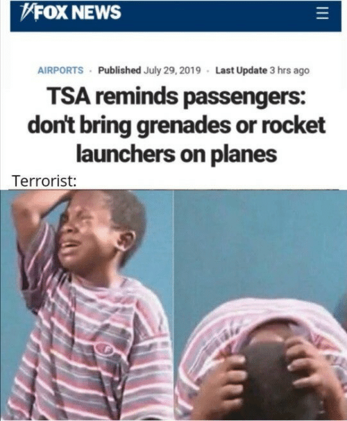 News, Fox News, and Fox: FOX NEWS  AIRPORTS Published July 29, 2019 Last Update 3 hrs ago  TSA reminds passengers:  don't bring grenades or rocket  launchers on planes  Terrorist: