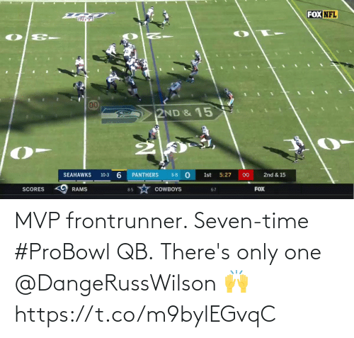 Dallas Cowboys: FOX NFL  00  2ND & 15  6.  SEAHAWKS  PANTHERS  00  10-3  5-8  1st  5:27  2nd & 15  FOX  RAMS  SCORES  COWBOYS  8-5  6-7 MVP frontrunner. Seven-time #ProBowl QB.  There's only one @DangeRussWilson 🙌 https://t.co/m9bylEGvqC