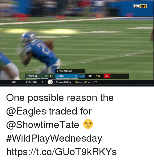 Philadelphia Eagles, Memes, and Nfl: FOX  NFL  2 Point Attempt  LIONS  Stevan Ridley  PACKERS  78 11  87 33 4th 7:16 02  NFL  RUSHING 7  10 rush, 60 yds, 1 TD One possible reason the @Eagles traded for @ShowtimeTate 😏  #WildPlayWednesday https://t.co/GUoT9kRKYs