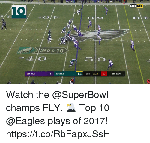 Philadelphia Eagles, Memes, and Superbowl: FOXNFL  10  3RD&10  LIO  VIKINGS  7 EAGLES  14 2nd 1:18 01 3rd & 10  3 Watch the @SuperBowl champs FLY. 🦅   Top 10 @Eagles plays of 2017! https://t.co/RbFapxJSsH