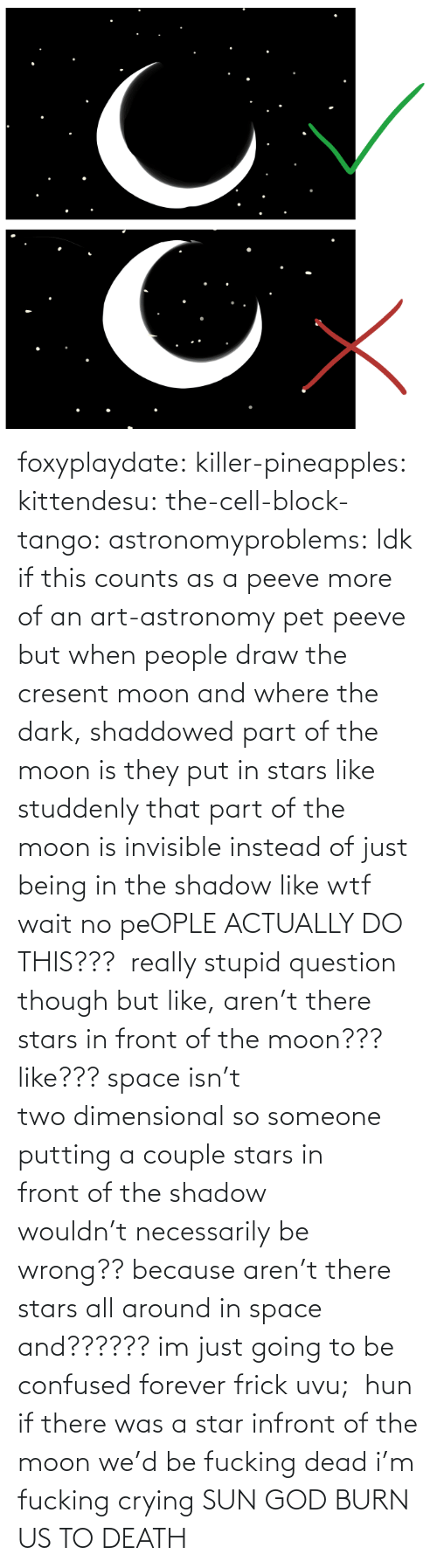 Moon: foxyplaydate: killer-pineapples:  kittendesu:  the-cell-block-tango:  astronomyproblems:  Idk if this counts as a peeve more of an art-astronomy pet peeve but when people draw the cresent moon and where the dark, shaddowed part of the moon is they put in stars like studdenly that part of the moon is invisible instead of just being in the shadow like wtf  wait no peOPLE ACTUALLY DO THIS???   really stupid question though but like, aren't there stars in front of the moon??? like??? space isn't two dimensional so someone putting a couple stars in front of the shadow wouldn't necessarily be wrong?? because aren't there stars all around in space and?????? im just going to be confused forever frick uvu;   hun if there was a star infront of the moon we'd be fucking dead  i'm fucking crying    SUN GOD BURN US TO DEATH