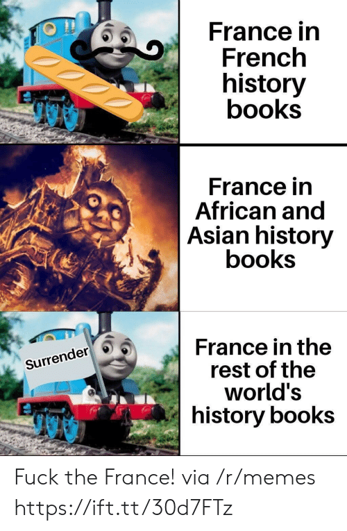 Asian, Books, and Memes: France in  French  history  books  France in  African and  Asian history  books  France in the  rest of the  world's  history books  Surrender Fuck the France! via /r/memes https://ift.tt/30d7FTz