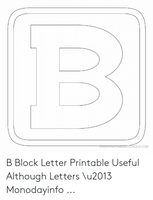 picture relating to Block Letters Printable called FREEPRINTASLESTENCILSCOM B Block Letter Printable Enlightening