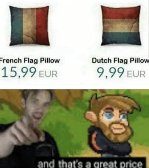 Dutch Language: French Flag Pillow  Dutch Flag Pillow  15,99 EUR  9,99 EUR  and that's a areat price