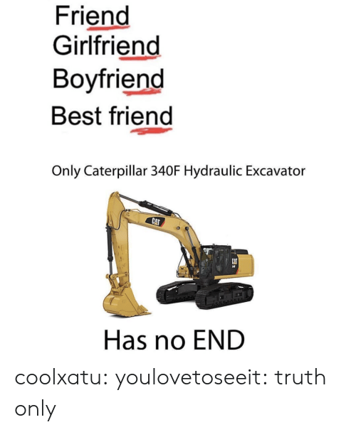 Best Friend, Target, and Tumblr: Friend  Girlfriend  Boyfriend  Best friend  Only Caterpillar 340F Hydraulic Excavator  CAT  Has no END coolxatu:  youlovetoseeit: truth only