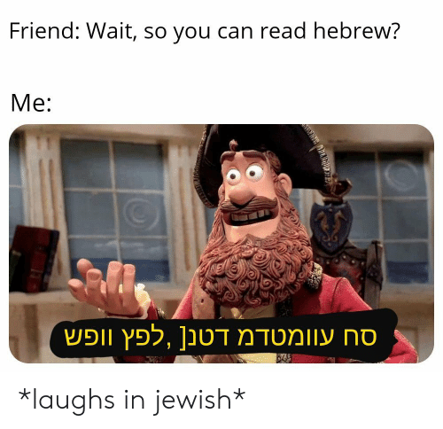 Jewish, Can, and Friend: Friend: Wait, so you can read hebrew?  Me: *laughs in jewish*