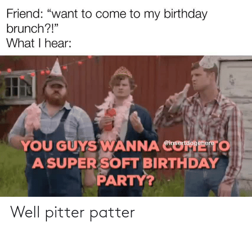 """Birthday: Friend: """"want to come to my birthday  brunch?!""""  What I hear:  YOU GUYS WANNA CO  A SUPER SOFT BIRTHDAY  PARTY?  то  @insertdogehere Well pitter patter"""