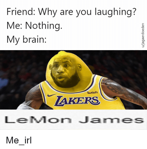 why are you laughing: Friend: Why are you laughing?  Me: Nothing.  My brain:  wish  TAKERS  LeMon James Me_irl