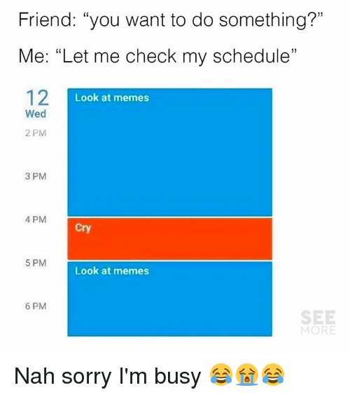 """ims: Friend: """"you want to do something?""""  Me: """"Let me check my schedule""""  12I  1)  Look at memes  Wed  2 PM  3 PM  4 PM  Cry  5 PM  Look at memes  6 PM  SEE  MORE Nah sorry I'm busy 😂😭😂"""