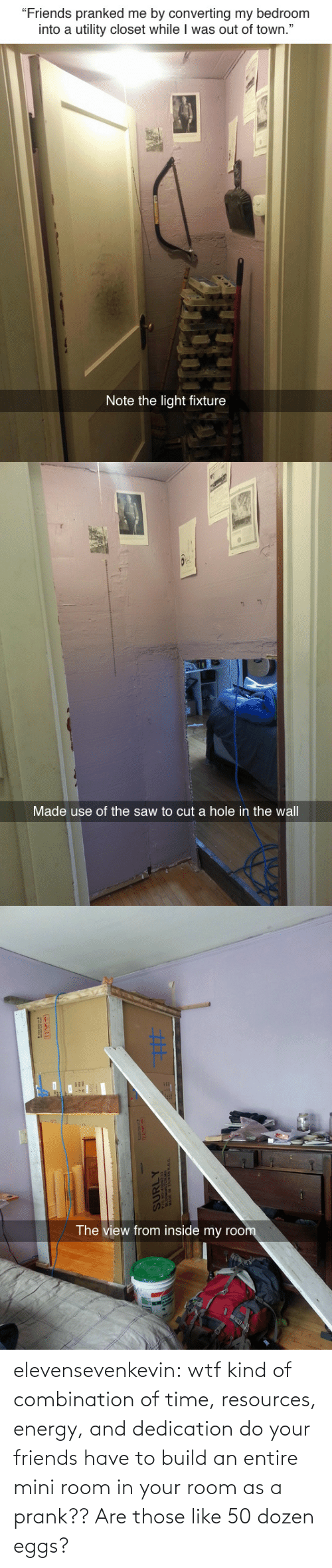 """eggs: """"Friends pranked me by converting my bedroom  into a utility closet while I was out of town.""""  Note the light fixture   Made use of the saw to cut a hole in the wall   The view from inside my roo elevensevenkevin:  wtf kind of combination of time, resources, energy, and dedication do your friends have to build an entire mini room in your room as a prank??    Are those like 50 dozen eggs?"""