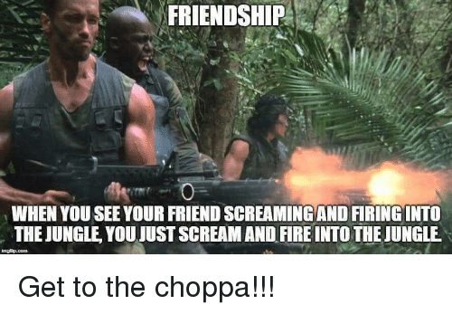 Fire, Lol, and Scream: FRIENDSHIP  WHEN YOU SEE YOUR FRIEND SCREAMING AND FIRING INTO  THE JUNGLE YOU JUST SCREAM AND FIRE INTO THE JUNGLE Get to the choppa!!!