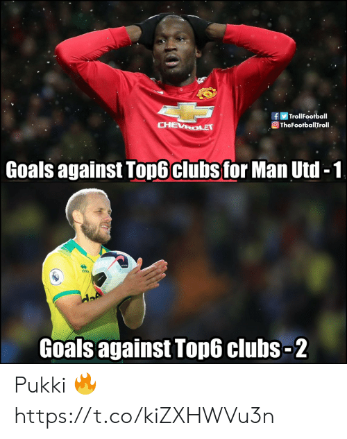 Goals, Memes, and Chevrolet: fTrollFootball  O TheFootballTroll  CHEVROLET  Goals against Top6 clubs for Man Utd -1  emea  Goals against Top6 clubs-2 Pukki 🔥 https://t.co/kiZXHWVu3n