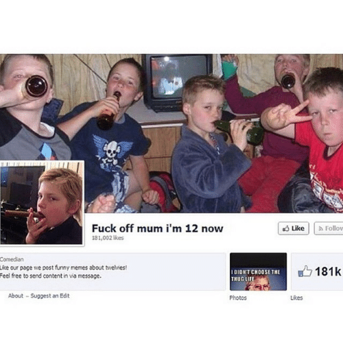 Posts Funny: Fuck off mum i'm 12 now  likes  Comedian  Like our page we post funny memes about twelvies!  I DIDNT CHOOSE THE  Feel free to send content in via message.  About Suggest an Edit  Photos  Like Follow  B 181k  Likes