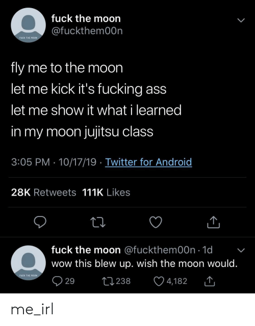 To The Moon: fuck the moon  @fuckthem00n  FUCK THE MOON  fly me to the moon  let me kick it's fucking ass  let me show it what i learned  in my moon jujitsu class  3:05 PM 10/17/19 Twitter for Android  28K Retweets 111K Likes  fuck the moon @fuckthem00n 1d  wow this blew up. wish the moon would.  FUCK THE MOON  29  L238  4,182 me_irl
