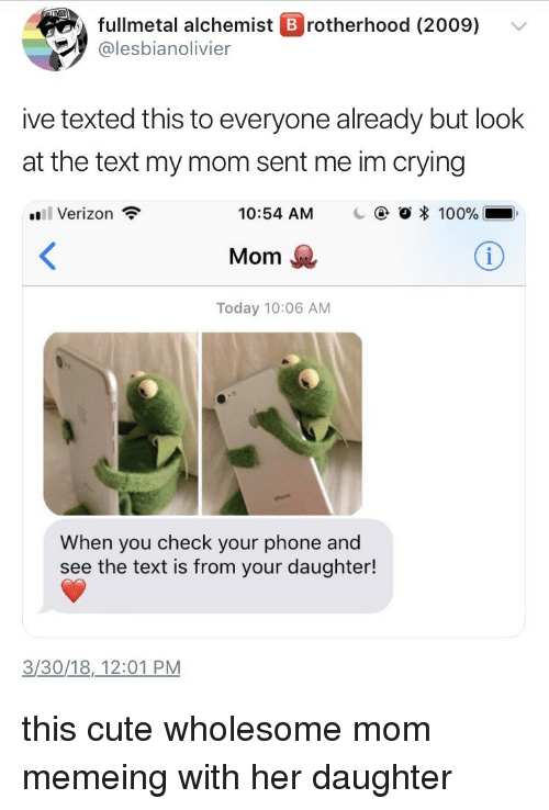 Memeing: fullmetal alchemist B rotherhood (2009) v  @lesbianolivier  ive texted this to everyone already but look  at the text my mom sent me im crying  Verizon  10:54 AM  C  O * 100%  Mom  Today 10:06 AM  When you check your phone and  see the text is from your daughter!  3/30/18,12:01 PM <p>this cute wholesome mom memeing with her daughter</p>