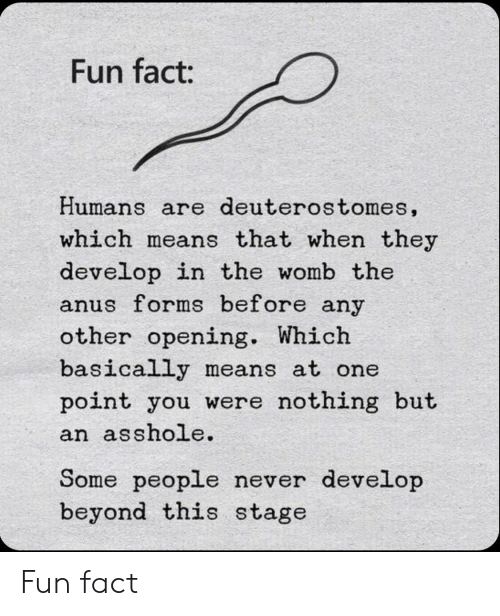 womb: Fun fact:  Humans are deuterostomes,  which means that when they  develop in the womb the  anus forms before any  other opening. Which  basically means at one  point you were nothing but  an asshole.  Some people never develop  beyond this stage Fun fact