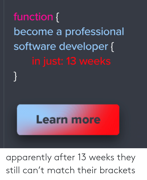 apparently: function {  become a professional  software developer {  in just: 13 weeks  }  Learn more apparently after 13 weeks they still can't match their brackets