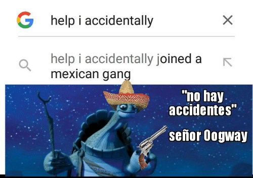 "i accidentally: G help i accidentally  help i accidentally joined a  mexican gang  ""no hay.  accidentes""  señor Oogway"