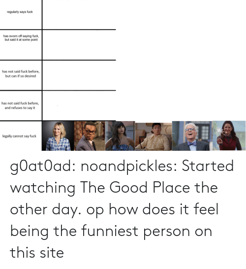 The Good: g0at0ad:  noandpickles: Started watching The Good Place the other day. op how does it feel being the funniest person on this site