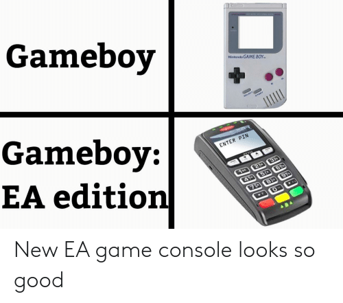 pin: Gameboy  Nintendo GAME BOY  Gameboy:  EA edition  ELECT  START  ENTER PIN  3P  1or 2  4 5t B  7D 8 9  ..  F New EA game console looks so good
