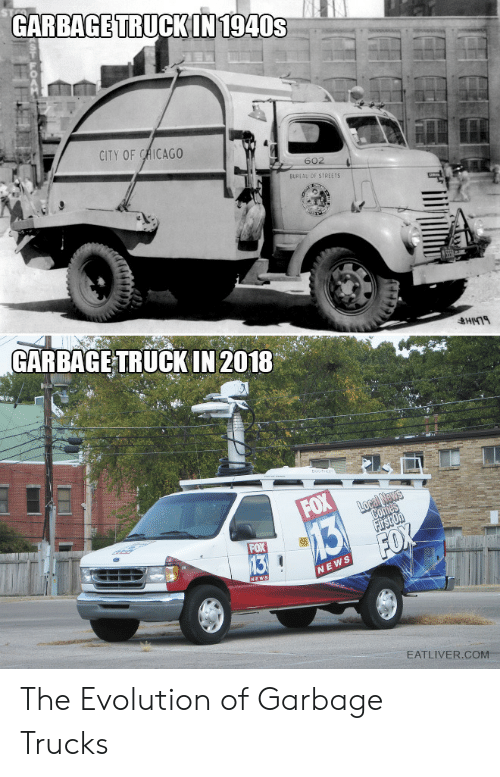 Chicago, Streets, and Evolution: GARBAGE TRUCKIN  1940s  CITY OF CHICAGO  692  BUREAU OF STREETS  GARBAGE TRUCK IN 2018  EATLIVER.COM.. The Evolution of Garbage Trucks