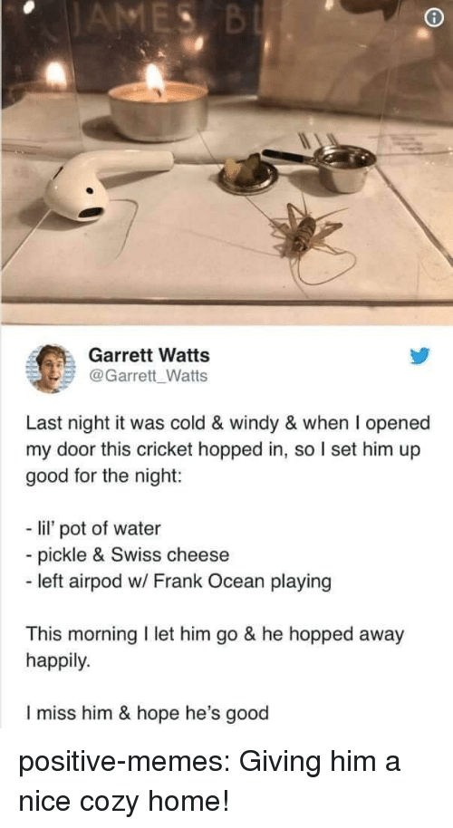 Frank Ocean, Memes, and Tumblr: Garrett Watts  @Garrett Watts  Last night it was cold & windy & when I opened  my door this cricket hopped in, so I set him up  good for the night:  - li pot of water  - pickle & Swiss cheese  - left airpod w/ Frank Ocean playing  This morning I let him go & he hopped away  happily.  I miss him & hope he's good positive-memes:  Giving him a nice cozy home!