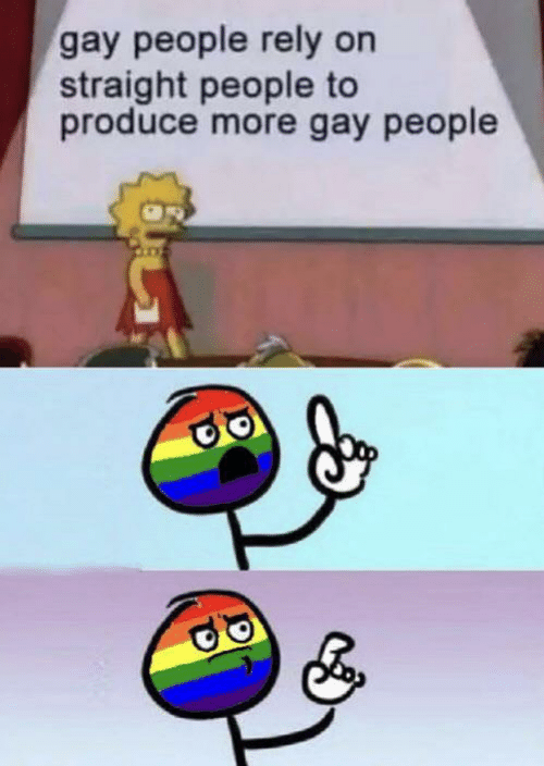Gay, Straight, and More: gay people rely on  straight people to  produce more gay people