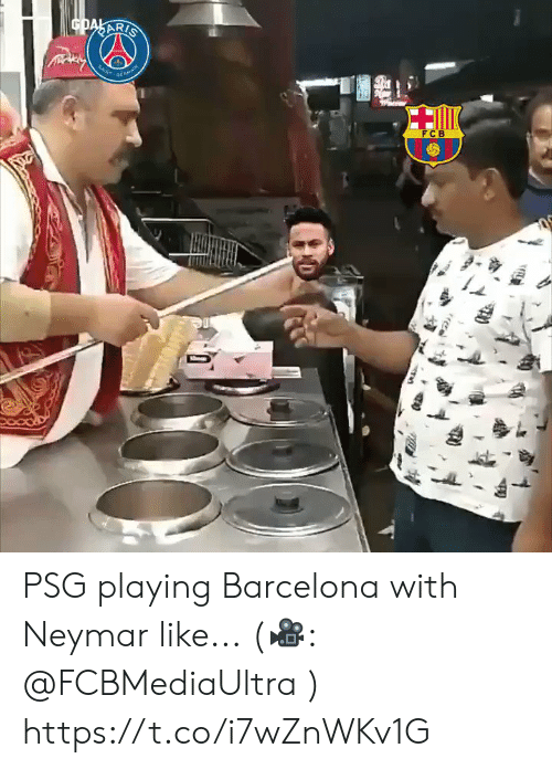 Barcelona, Memes, and Neymar: GDAKARIS  SAN  MA  FCB PSG playing Barcelona with Neymar like...  (🎥: @FCBMediaUltra ) https://t.co/i7wZnWKv1G