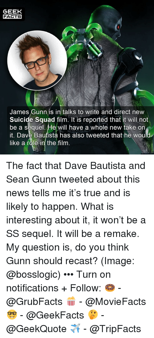 Facts, Memes, and News: GEEK  FACTS  James Gunn is in talks to write and direct new  Suicide Squad film. It is reported that it will not  be a sequel. He will have a whole new take on  it. Dave Bautista has also tweeted that he would  like a role  in the film The fact that Dave Bautista and Sean Gunn tweeted about this news tells me it's true and is likely to happen. What is interesting about it, it won't be a SS sequel. It will be a remake. My question is, do you think Gunn should recast? (Image: @bosslogic) ••• Turn on notifications + Follow: 🍩 - @GrubFacts 🍿 - @MovieFacts 🤓 - @GeekFacts 🤔 - @GeekQuote ✈️ - @TripFacts