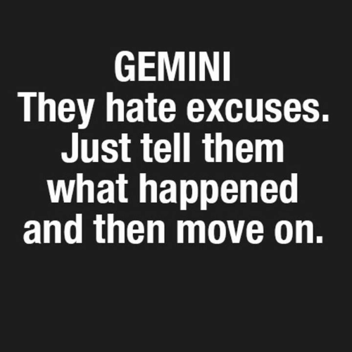Gemini: GEMINI  They hate excuses.  Just tell them  what happened  and then move on.