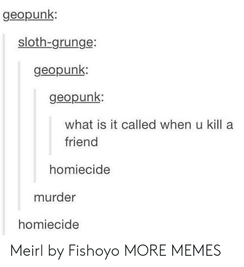 grunge: geopunk  sloth-grunge:  geopunk  geopunk:  what is it called when u kill a  friend  homiecide  murder  homiecide Meirl by Fishoyo MORE MEMES