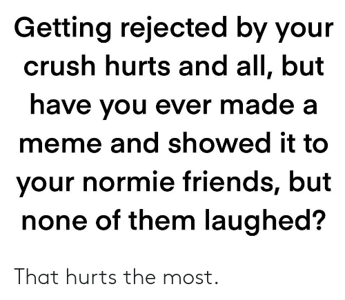 Crush, Friends, and Meme: Getting rejected by your  crush hurts and all, but  have you ever made a  meme and showed it to  your normie friends, but  none of them laughed? That hurts the most.