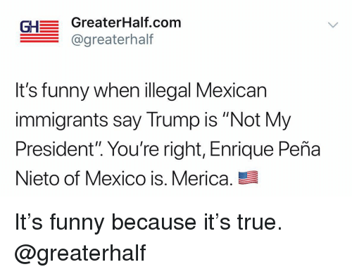 """Not My President: GH GreaterHalf.com  @greaterhalf  It's funny when illegal Mexican  immigrants say Trump is """"Not My  President"""". You're right, Enrique Peña  Nieto of Mexico is. Merica. It's funny because it's true. @greaterhalf"""