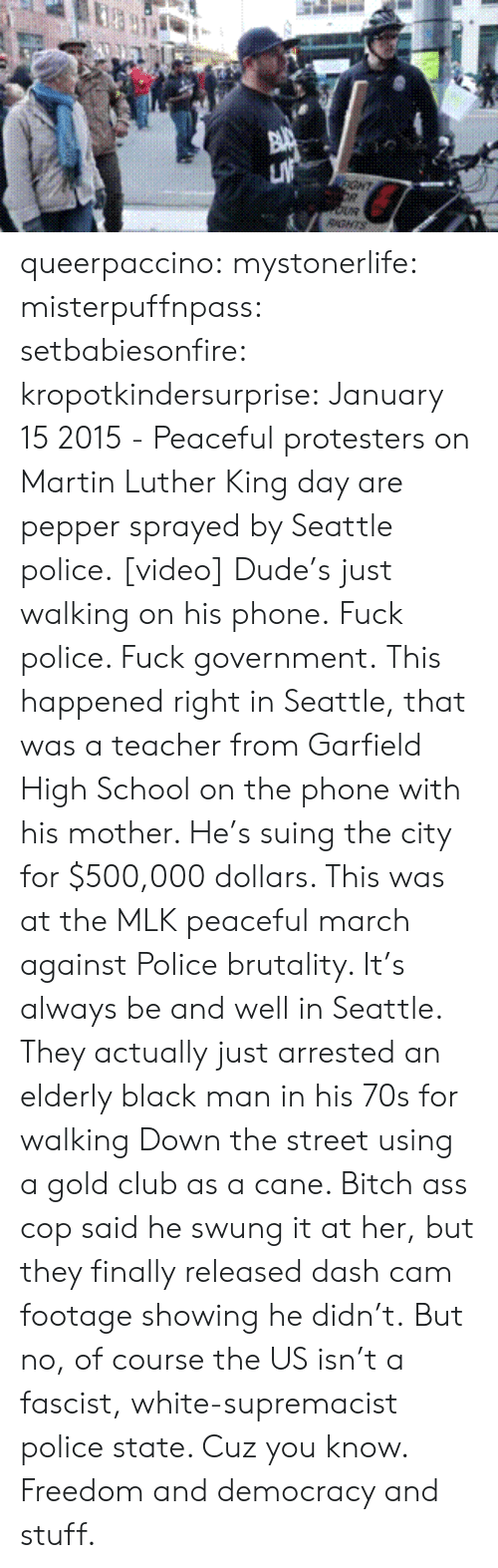 mlk: GHT  RGNTS queerpaccino: mystonerlife:  misterpuffnpass:  setbabiesonfire:  kropotkindersurprise: January 152015 - Peaceful protesters on Martin Luther King day are pepper sprayed by Seattle police.[video] Dude's just walking on his phone.  Fuck police. Fuck government.  This happened right in Seattle, that was a teacher from Garfield High School on the phone with his mother. He's suing the city for $500,000 dollars. This was at the MLK peaceful march against Police brutality. It's always be and well in Seattle. They actually just arrested an elderly black man in his 70s for walking Down the street using a gold club as a cane. Bitch ass cop said he swung it at her, but they finally released dash cam footage showing he didn't.  But no, of course the US isn't a fascist, white-supremacist police state. Cuz you know. Freedom and democracy and stuff.