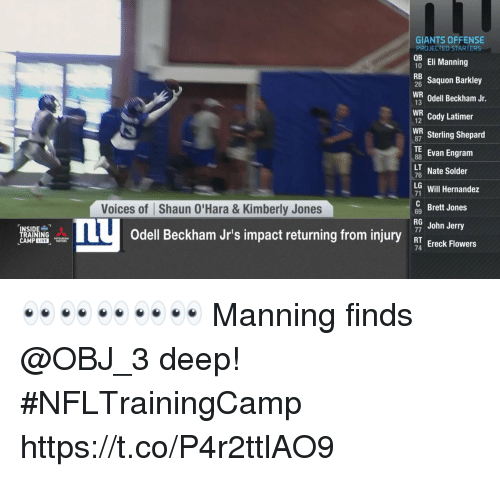 Eli Manning, Memes, and Odell Beckham Jr.: GIANTS OFFENSE  PROJECTED STARTERS  10 Eli Manning  28 Saquon Barkley  WR Odell Beckham Jr.  13  WR Cody Latimer  NR Sterling Shepard  12  3  88Evan Engram  LT Nate Solder  76  LG Will Hernandez  71  69 Brett Jones  RG John Jerry  Voices of Shaun 0'Hara& Kimberly Jones  NSIDE  TRAINING  Odell Beckham Jr's impact returning from injury RT  Ereck Flowers  74 👀👀👀👀👀  Manning finds @OBJ_3 deep! #NFLTrainingCamp https://t.co/P4r2ttlAO9