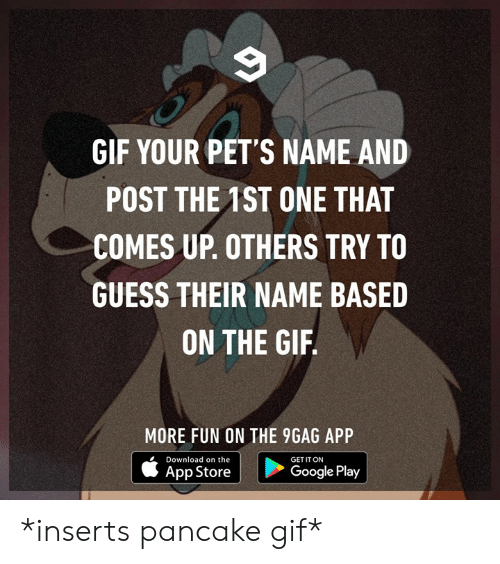 pancake: GIF YOUR PET'S NAME AND  POST THE 1ST ONE THAT  COMES UP. OTHERS TRY TO  GUESS THEIR NAME BASED  ON THE GIF  MORE FUN ON THE 9GAG APP  Download on the  GET IT ON  App Store  Google Play *inserts pancake gif*
