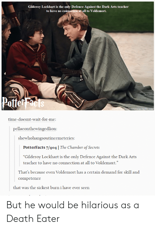 "wait for me: Gilderoy Lockhart is the only Defence Against the Dark Arts teacher  to have no connection at all to Voldemort.  Potte  cemeteries.tum  time-doesnt-wait-for-me:  pellaeonthewingedlion  shewhohangsoutincemeteries  PotterFacts 7/404 | The Chamber of Secrets  ""Gilderoy Lockhart is the only Defence Against the Dark Arts  teacher to have no connection at all to Voldemort.""  Thar's because even Voldemort hasa cettain demand fr sill and  competence  that was the sickest burn i have ever seen But he would be hilarious as a Death Eater"