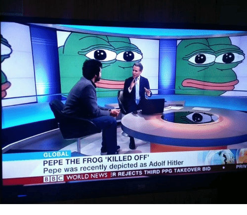 News, Pepe the Frog, and Hitler: GLOBAL  PEPE THE FROG 'KILLED OFF  Pepe was recently depicted as Adolf Hitler  BE WORLD NEWS :R REJECTS THIRD PPG TAKEOVER BID  PRIV  .