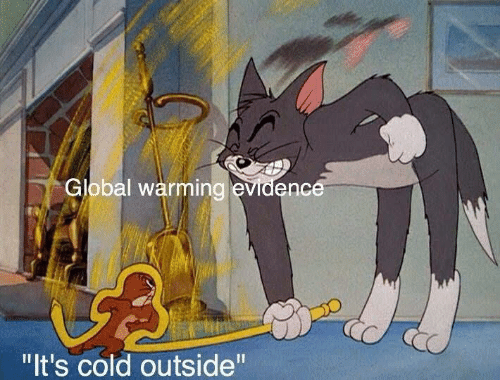 "Global: Global warming evidence  ""It's cold outside"""