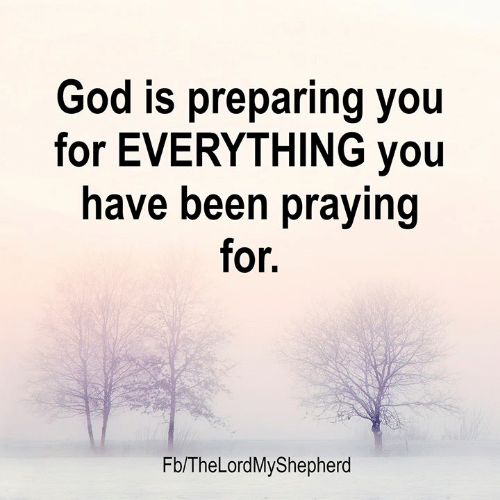 God, Memes, and Been: God is preparing you  for EVERYTHING you  have been praying  for.  Fb/TheLordMyShepherd