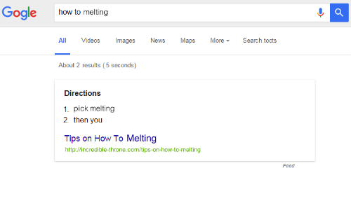 Toots: Gogle  how to melting  ll Videos Images News Maps MoreSearch toots  About 2 results (5 seconds)  Directions  1. pick melting  2. then you  Tips on How To Melting  http://incredible-throne.com/tips-on-how-to-melting