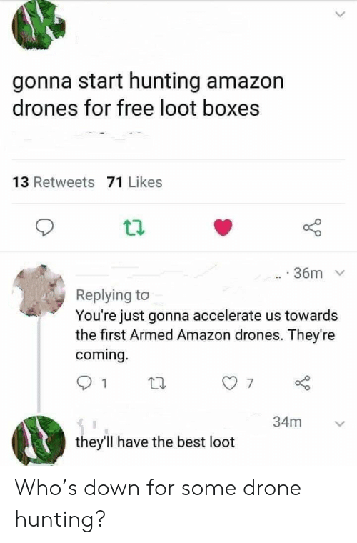 Amazon, Drone, and Hunting: gonna start hunting amazon  drones for free loot boxes  13 Retweets 71 Likes  36m  Replying to  You're just gonna accelerate us towards  the first Armed Amazon drones. They're  coming.  34m  they'll have the best loot Who's down for some drone hunting?