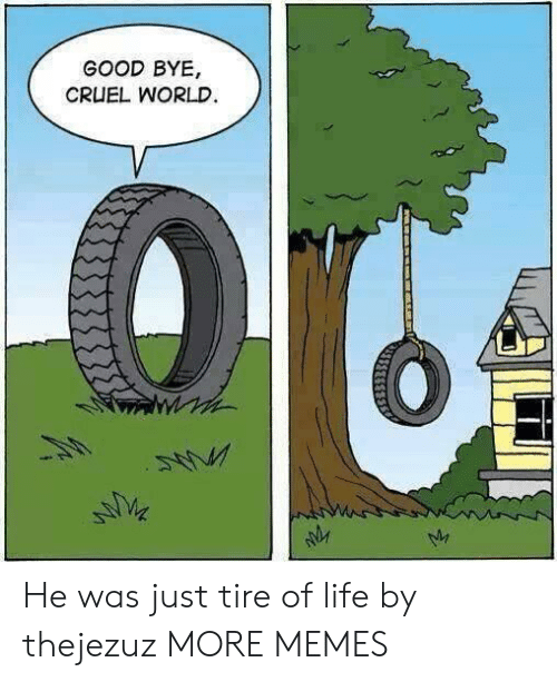 good bye: GOOD BYE,  CRUEL WORLD He was just tire of life by thejezuz MORE MEMES