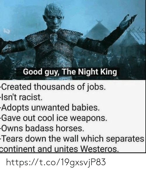 Horses, Memes, and Cool: Good guy, The Night King  Created thousands of jobs.  Isn't racist.  Adopts unwanted babies.  Gave out cool ice weapons.  Owns badass horses.  Tears down the wall which separates  continent and unites Westeros. https://t.co/19gxsvjP83