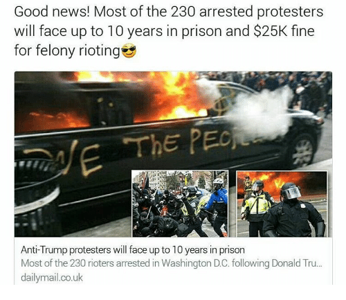 Memes, Washington Dc, and 🤖: Good news! Most of the 230 arrested protesters  will face up to 10 years in prison and $25K fine  for felony rioting  The PEO  Anti-Trump protesters will face up to 10 years in prison  Most of the 230 rioters arrested in Washington DC. following Donald Tru...  dailymail.co.uk