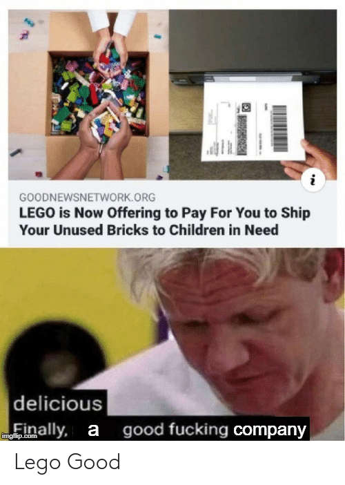 In Need: GOODNEWSNETWORK.ORG  LEGO is Now Offering to Pay For You to Ship  Your Unused Bricks to Children in Need  delicious  good fucking company  inally, a  imgfilip.com Lego Good