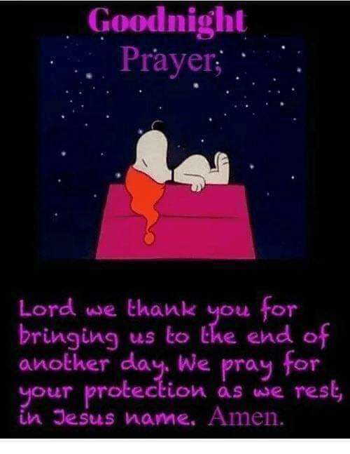 Dank, Jesus, and Thank You: Goodnight  . Prayer;  Lord we thank you for  bringing us to the end of  another day We pray for  your protection as we rest,  in Jesus name. Amen.